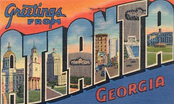 "Featured is a big-letter ""Atlanta"" postcard image from the 1930s ... private collection."